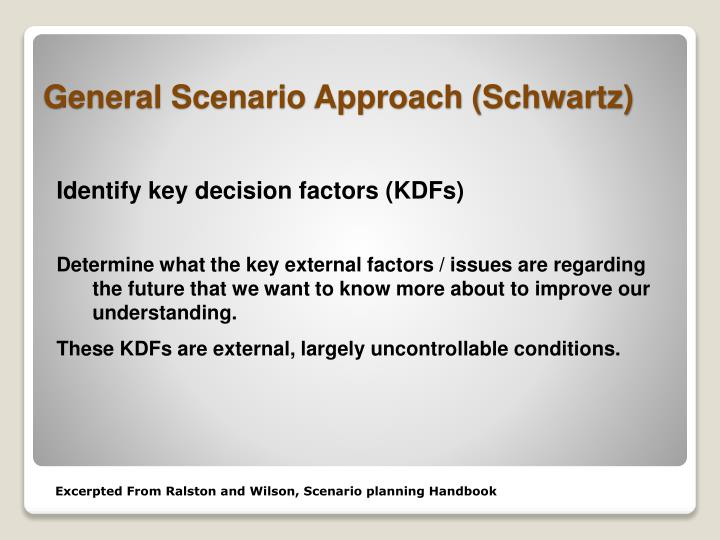 Identify key decision factors (KDFs)