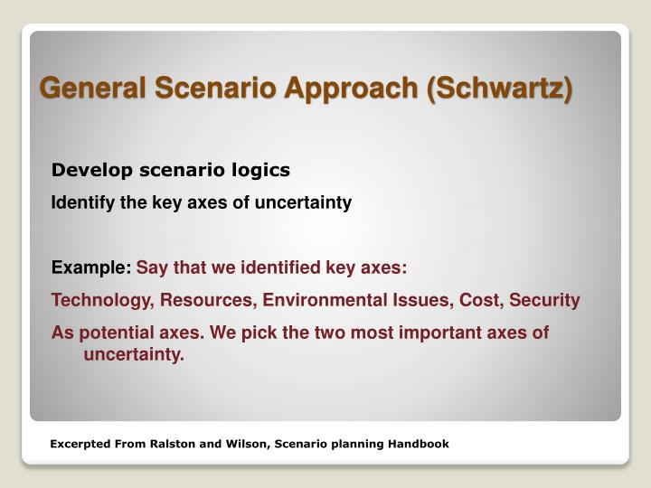 Develop scenario logics