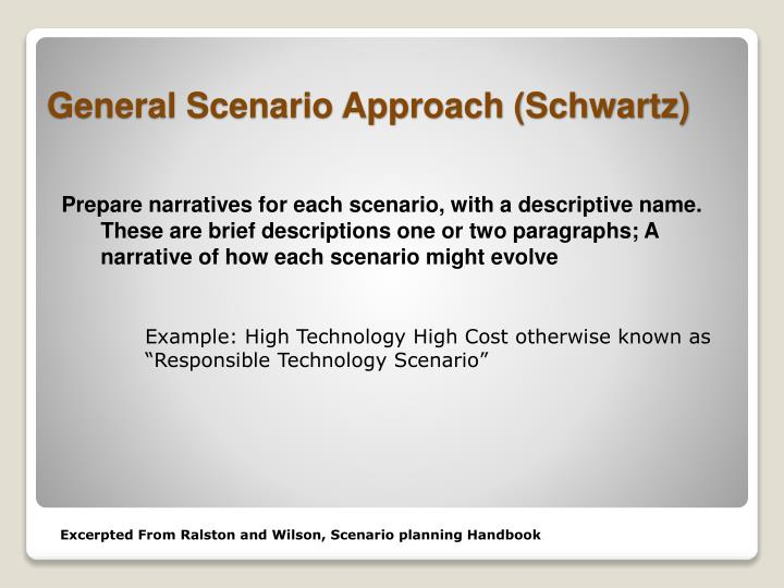 Prepare narratives for each scenario, with a descriptive name. These are brief descriptions one or two paragraphs; A narrative of how each scenario might evolve