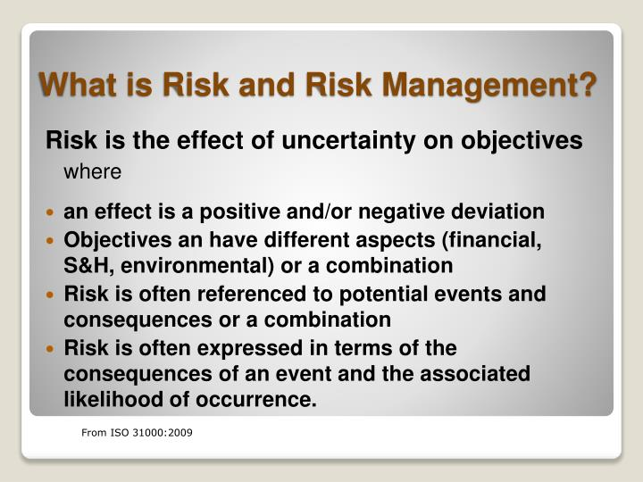 Risk is the effect of uncertainty on objectives