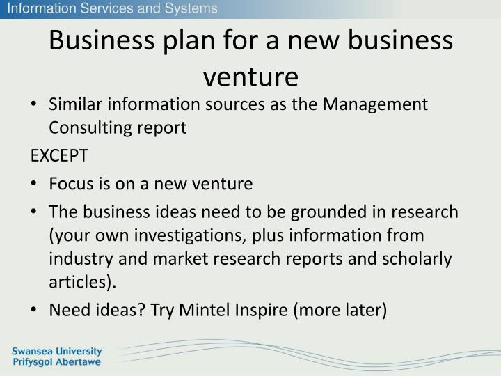 Business plan for a new business venture