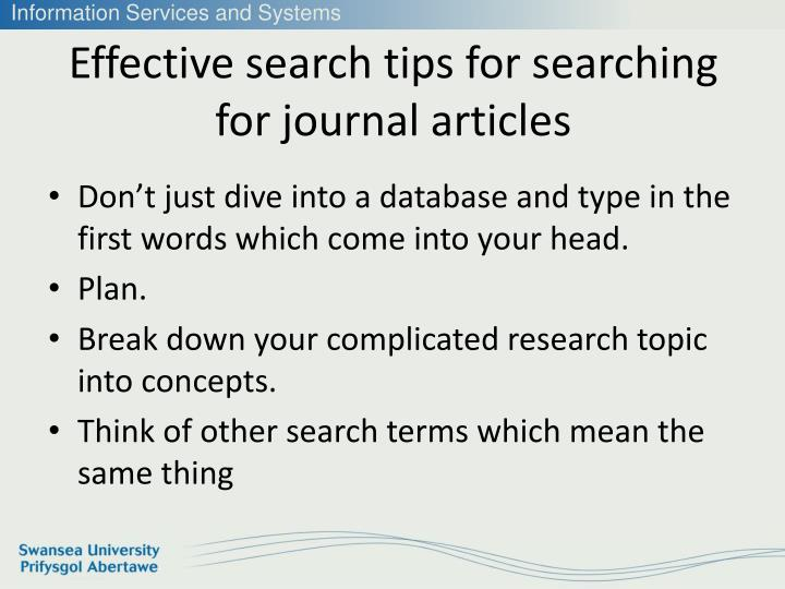 Effective search tips for searching for journal articles