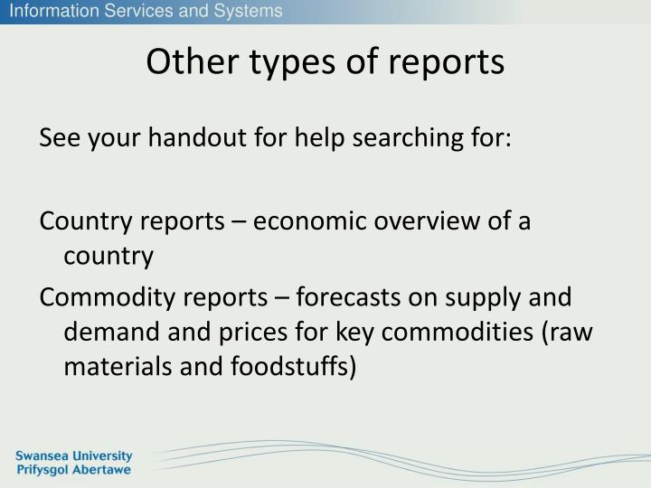 Other types of reports