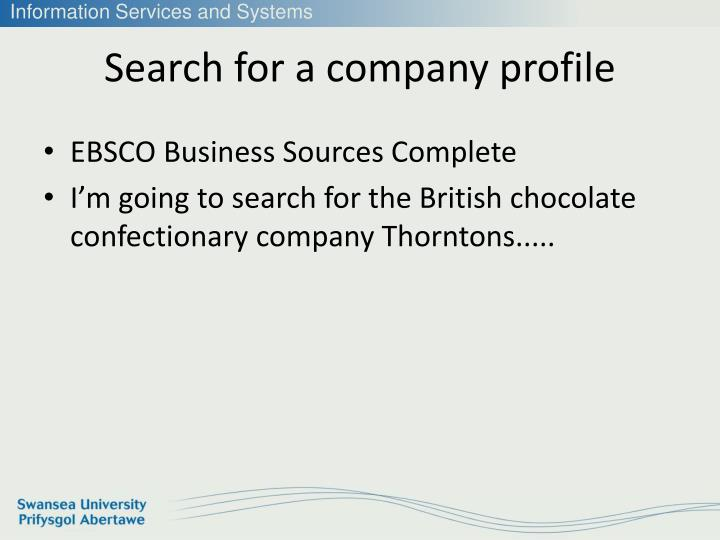 Search for a company profile