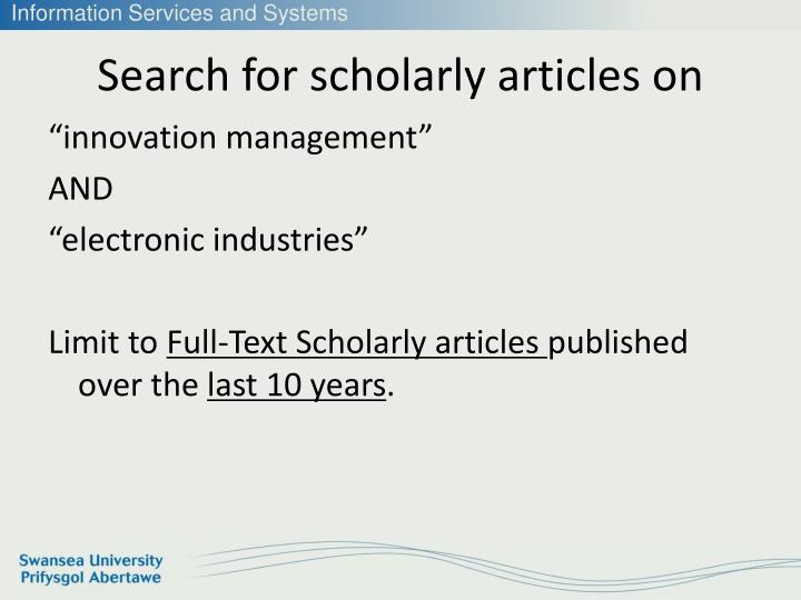Search for scholarly articles on