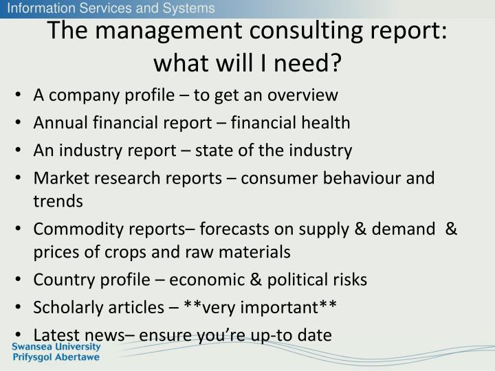 The management consulting report: what will I need?