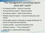 the management consulting report what will i need