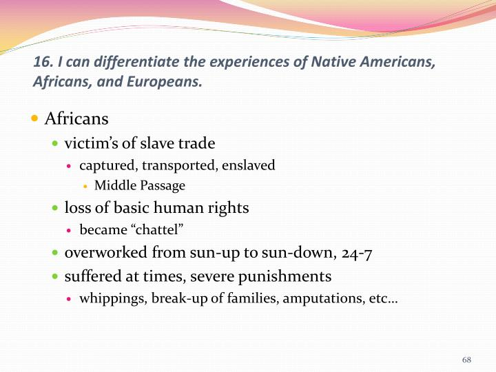 16. I can differentiate the experiences of Native Americans, Africans, and Europeans.