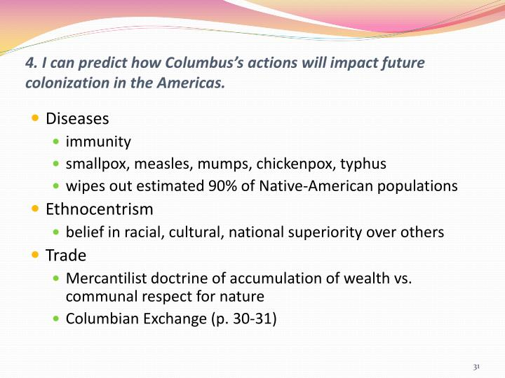 4. I can predict how Columbus's actions will impact future colonization in the Americas.