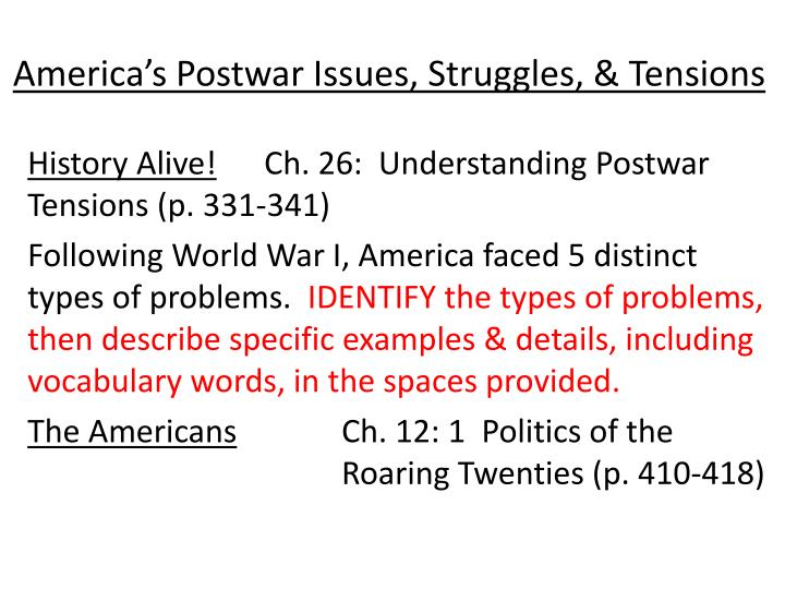 America's Postwar Issues, Struggles, & Tensions