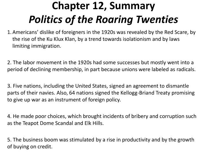 Chapter 12, Summary
