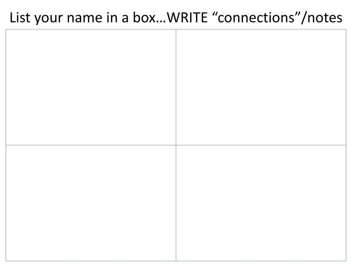 "List your name in a box…WRITE ""connections""/notes"