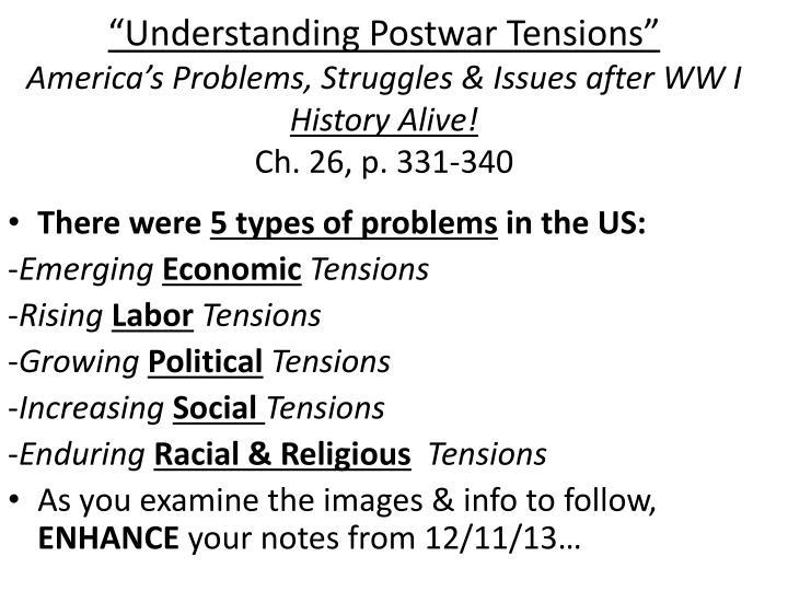 """""""Understanding Postwar Tensions"""""""
