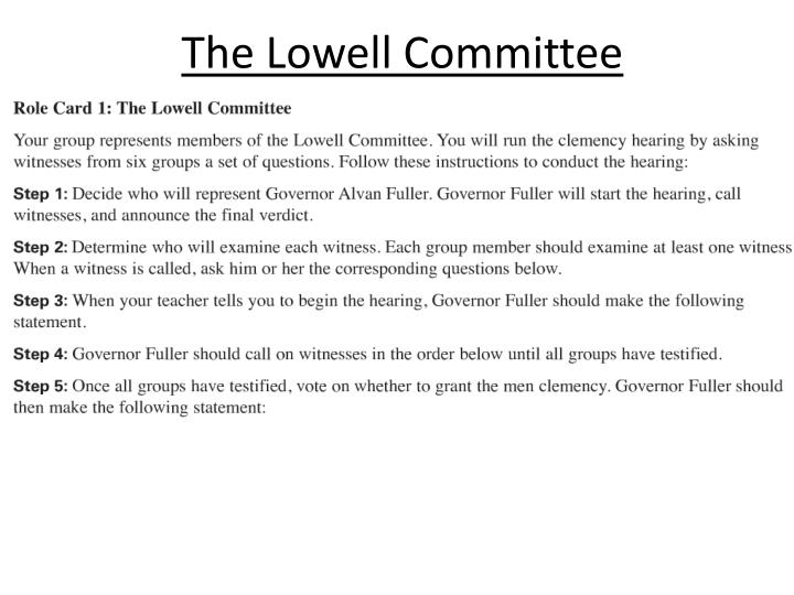 The Lowell Committee