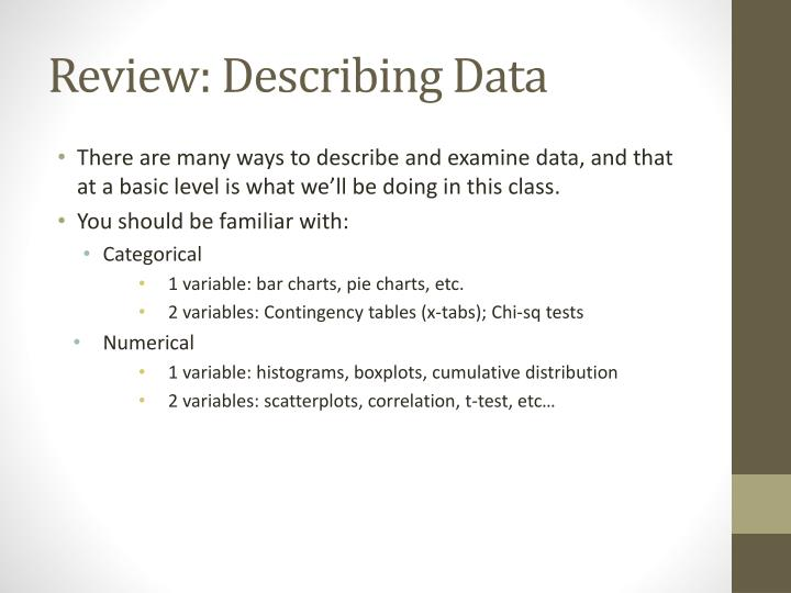 Review: Describing Data