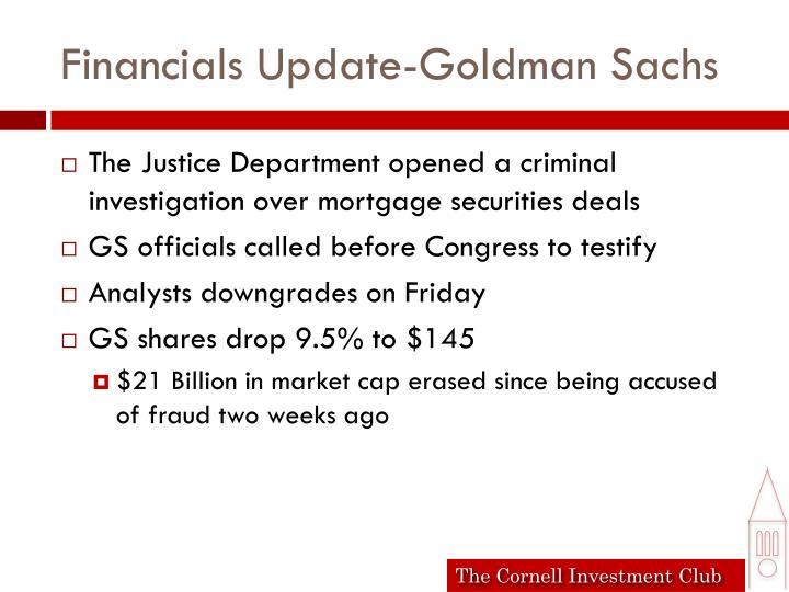 Financials Update-Goldman Sachs