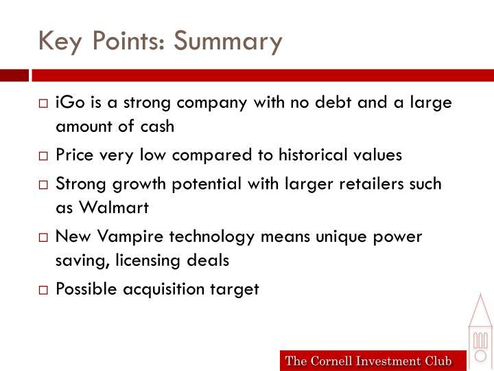 Key Points: Summary