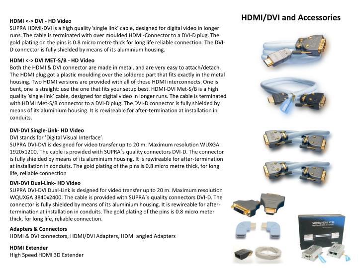 HDMI/DVI and Accessories