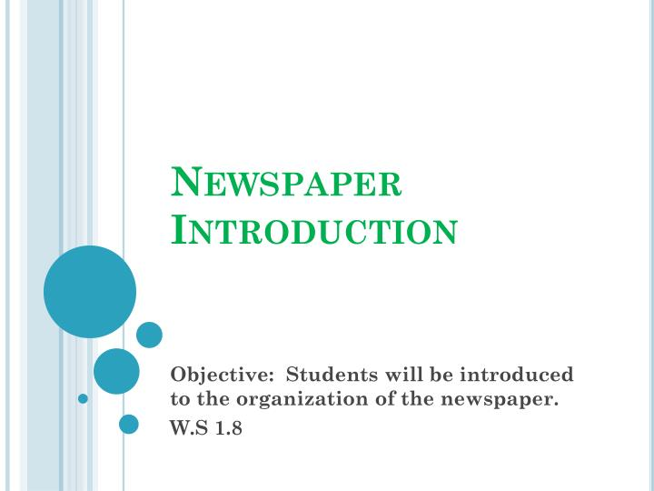 Newspaper Introduction