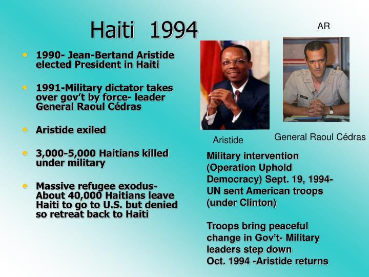 1990- Jean-Bertand Aristide elected President in Haiti