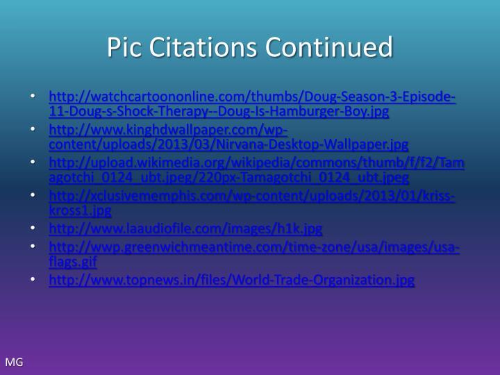 Pic Citations Continued