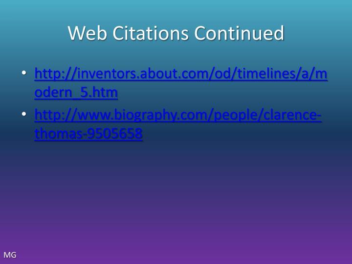 Web Citations Continued