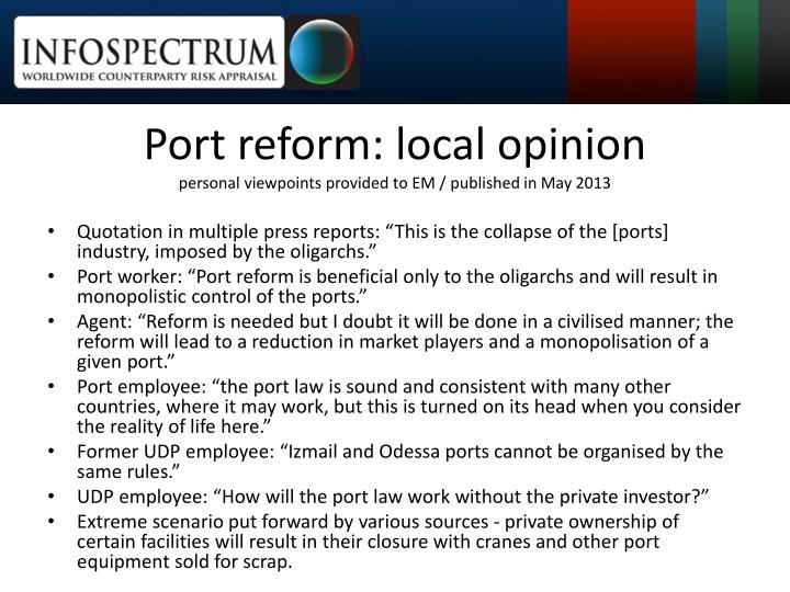 Port reform: local