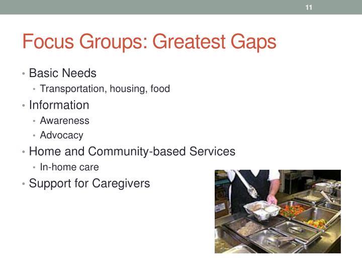 Focus Groups: Greatest Gaps