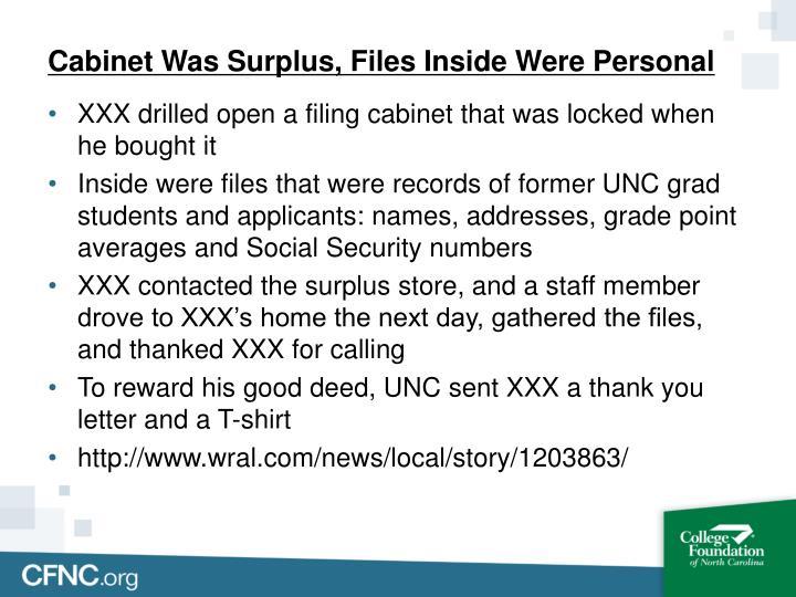 Cabinet Was Surplus, Files Inside Were Personal