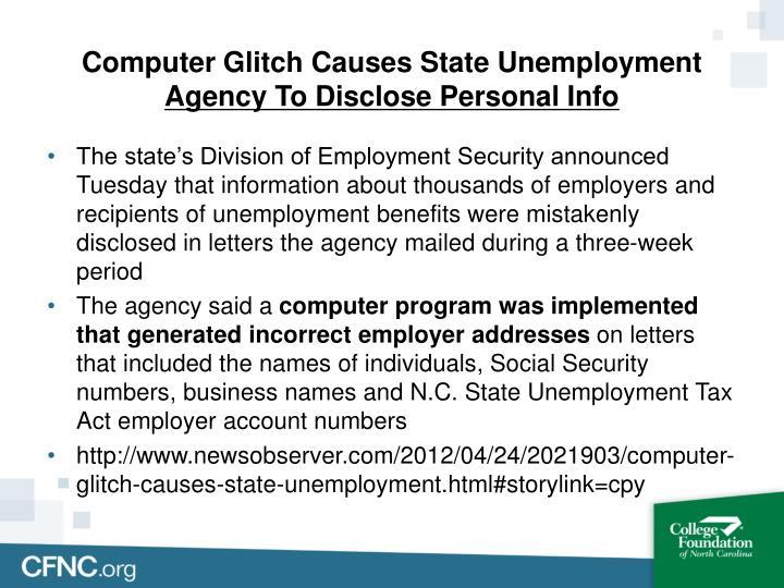 Computer Glitch Causes State Unemployment