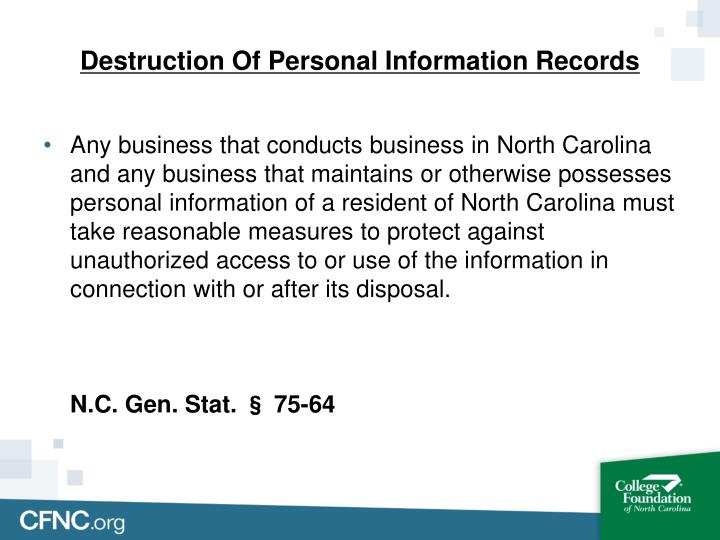 Destruction Of Personal Information Records