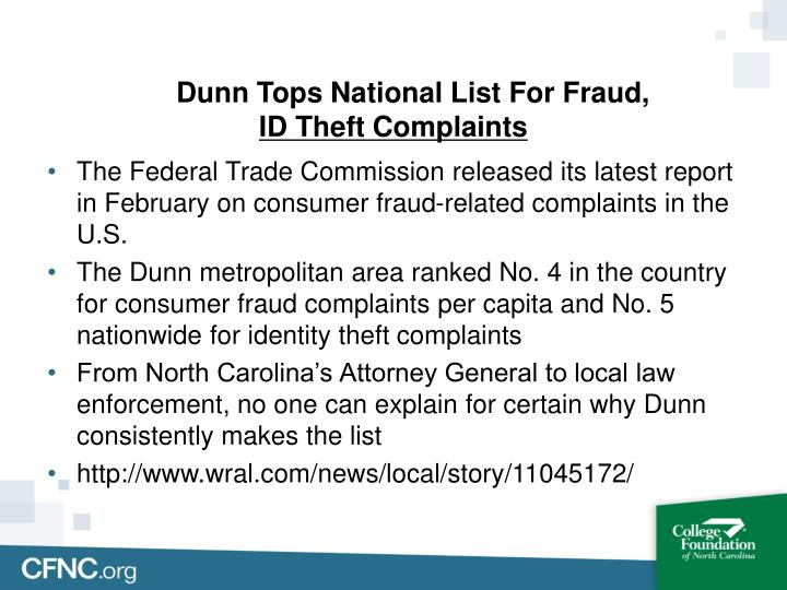 Dunn Tops National List For Fraud,