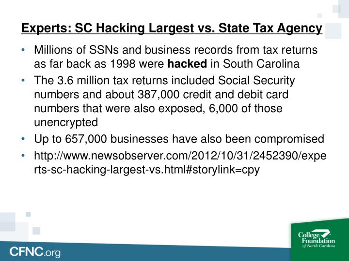 Experts: SC Hacking Largest vs. State Tax Agency
