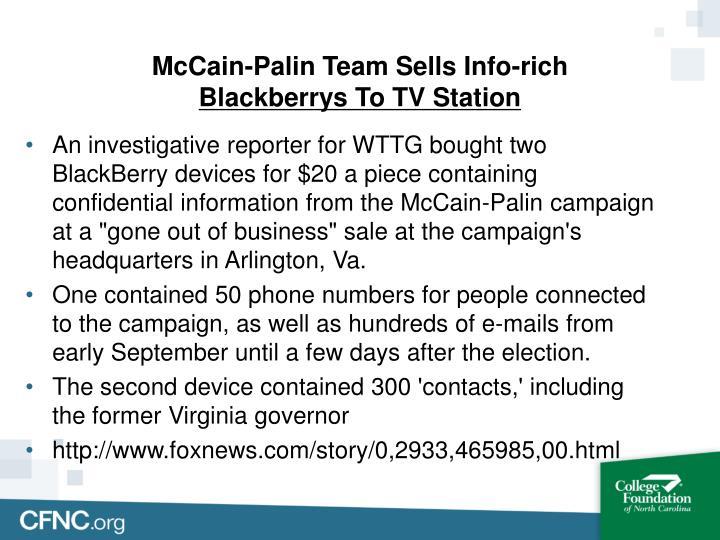 McCain-Palin Team Sells Info-rich