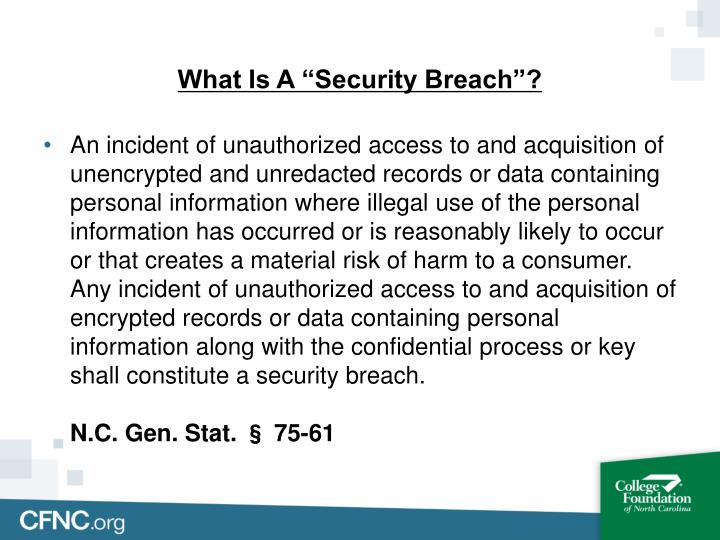 "What Is A ""Security Breach""?"