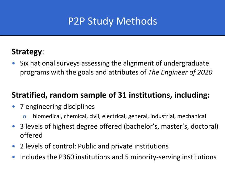 P2P Study Methods