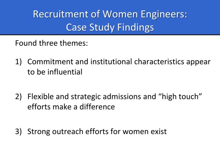 Recruitment of Women Engineers: