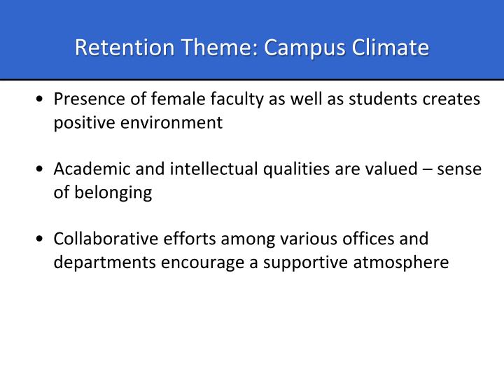 Retention Theme: Campus Climate