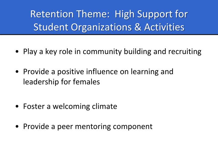 Retention Theme:  High Support for Student Organizations & Activities