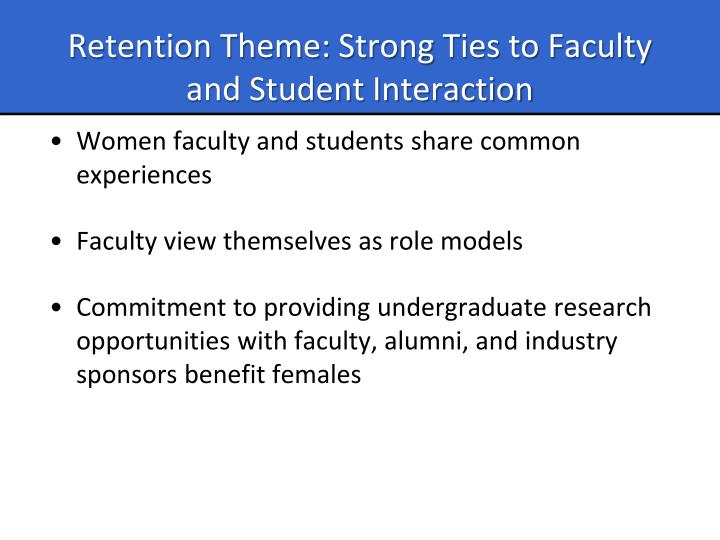 Retention Theme: Strong Ties to Faculty and Student Interaction