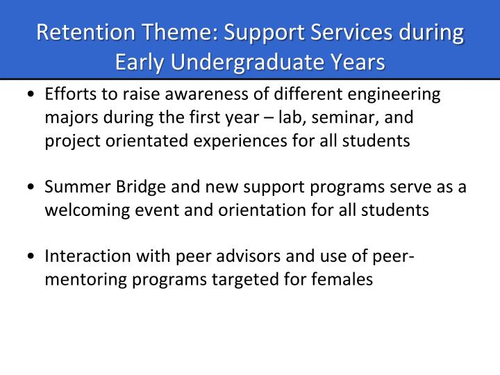 Retention Theme: Support Services during Early Undergraduate Years