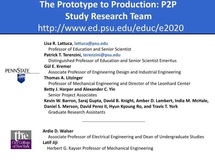 The Prototype to Production: P2P