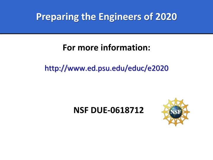 Preparing the Engineers of 2020