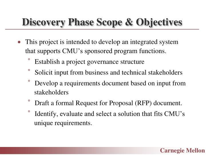 Discovery Phase Scope & Objectives