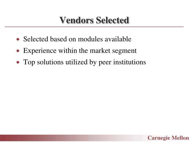 Vendors Selected