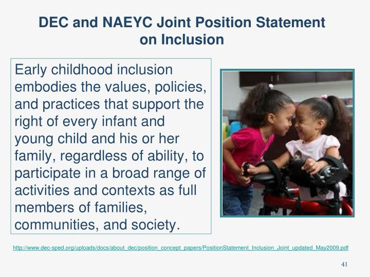 DEC and NAEYC Joint Position