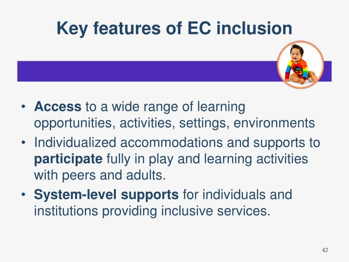 Key features of EC inclusion