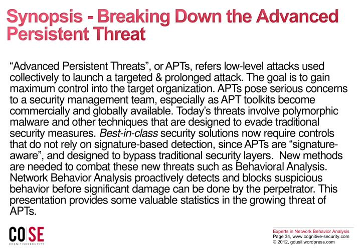 Synopsis - Breaking Down the Advanced Persistent Threat