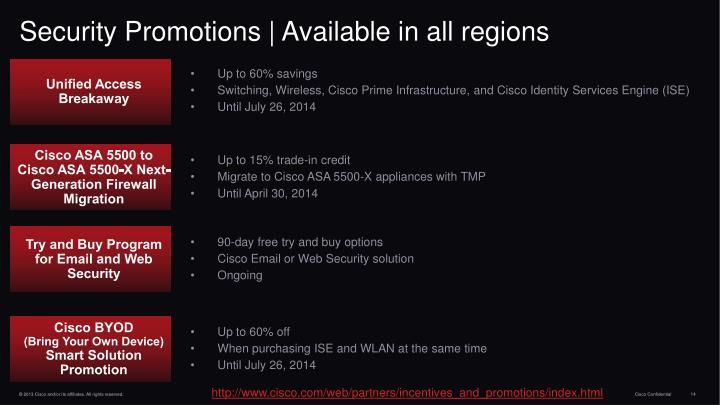 Security Promotions | Available in all regions