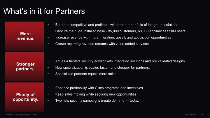 What's in it for Partners
